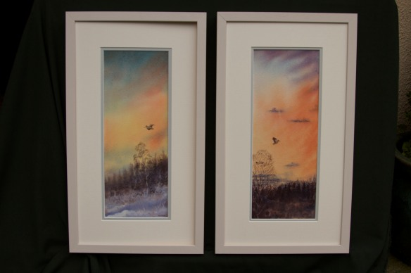 """""""Evening Flights 1 & 2"""" Matched Pair. (Woodcock) Euro 400 for pair,Euro 225 each. Framed"""